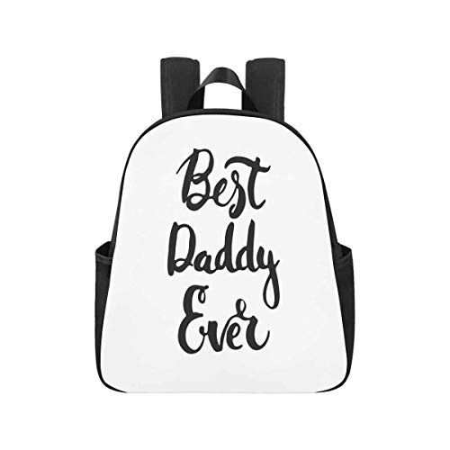InterestPrint Father's Day Lettering Calligraphy Phrase Best Daddy Ever Backpack Schoolbag Book Bag for Back to School