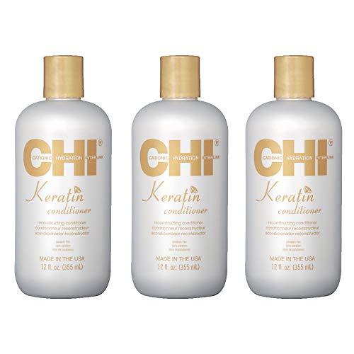 Eco Pack - CHI KERATIN - Kit Après-shampoing à la Kératine/Entretien Lissage - Sans parabène/Sans Sulfate (3 x 355 ml)