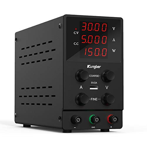 Kungber Labornetzgerät 0-30V / 0-5A, DC Regelbar Netzgerät mit 4-stelliger LED-Anzeige, Labornetzteil Netzteil Strommessgeräte, Überlast- & Kurzschlussfest (Schwarz- 30V / 5A)