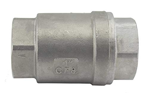 Duda Energy VCV-WOG1000-F100 Vertical Check Valve, 304 Stainless Steel, 1' NPT Spring Loaded in-line Low Cracking Pressure, 1'