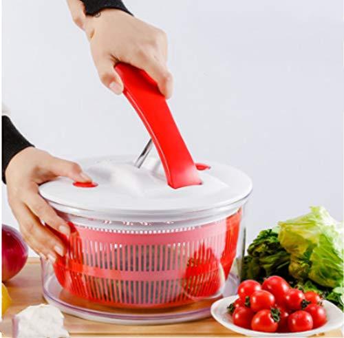 Essoreuse à Salade et Légumes - 5L - Design innovant - Système de Levier - Rouge