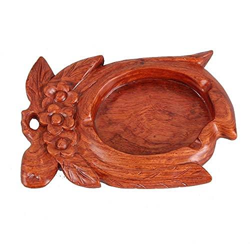 Cenicero de vidrio pequeño, cenicero-pera madera madera sólido cenicero, grabado vintage antiguo caoba regalo de artesanía, sala de estar de la sala de estar de mesa de café colección de decoración de