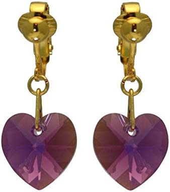 VALENTINE Gold Plated lilac AB Crystal Heart Clip On Earrings