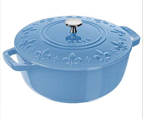 STAUB Horno francés redondo de hierro fundido de 24 cm, color azul hielo