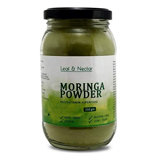 Leaf & Nectar Pure Moringa Powder | Eco- Friendly Glass Jar - 150 g