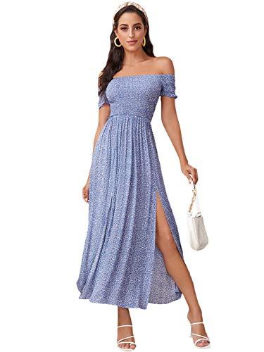 Floerns Women's Boho Floral Print Off Shoulder Split Long A Line Dress Blue Flower M
