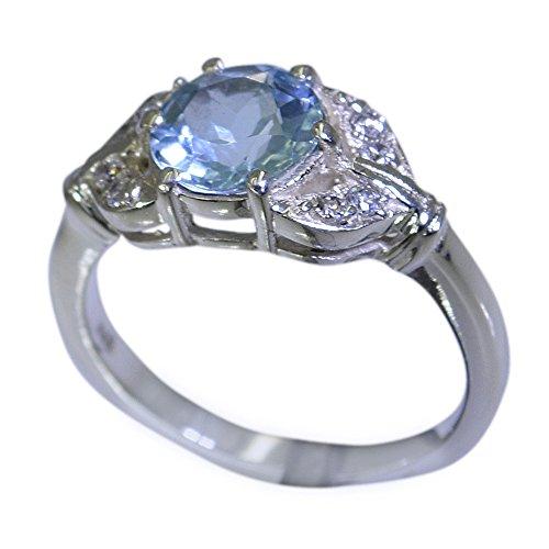 CaratYogi Natural Blue Topas-Statement-Ring in Silber ovaler Form Edelstein für Frauen & Mädchen Größe 65 (20,7)