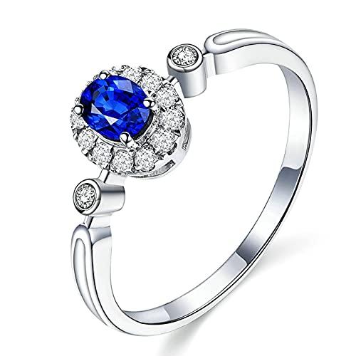 KnSam Mujer Hombre Unisex 18K oro blanco ovalada azul Sapphire
