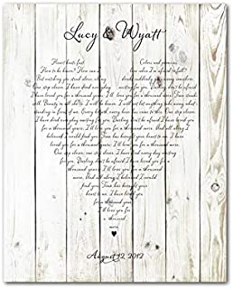 Any song lyrics Customized Wedding Wedding Song First Dance Wedding Vows Poetry Heart typography Ready to hang CANVAS