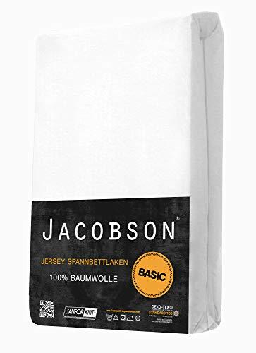 Jacobson Jersey Spannbettlaken Spannbetttuch Baumwolle Bettlaken (90×200-100×200 cm, Weiss) - 2