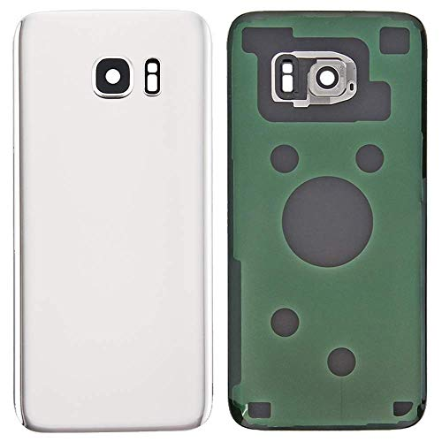 MovTEK Tapa Trasera de Cristal de Batería Trasero Original para Samsung Galaxy S7 Edge G935F con Lente de Cámara Blanco