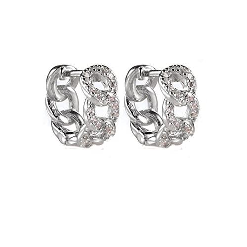 925 círculo de plata redondo o aros cristal mujeres de lujo zirconia cúbica parte pendiente piercing clips joyería de moda-plata