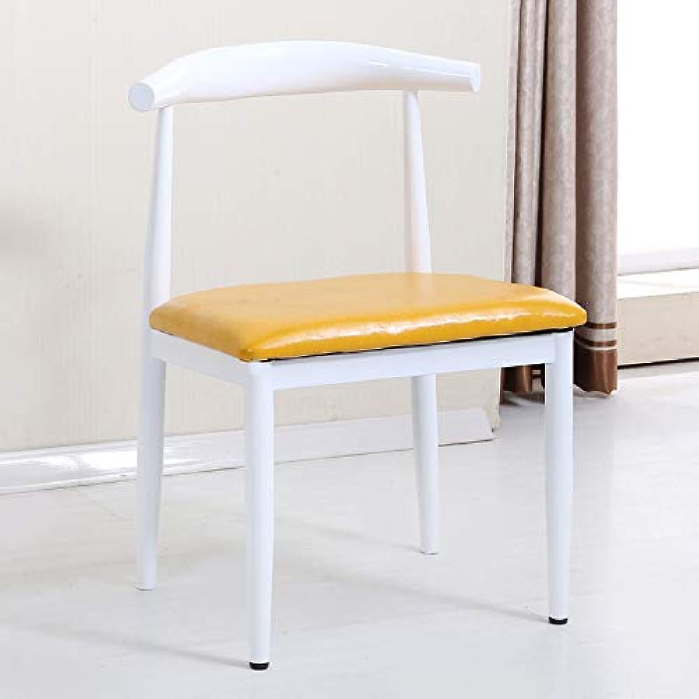 Nordic Eisen Rindhorn Stuhl, nachgemachte Massivholz einfach Esszimmerstuhl, ein Café, ein westliches Restaurant, Freizeitstuhl, Wei, Gelb,