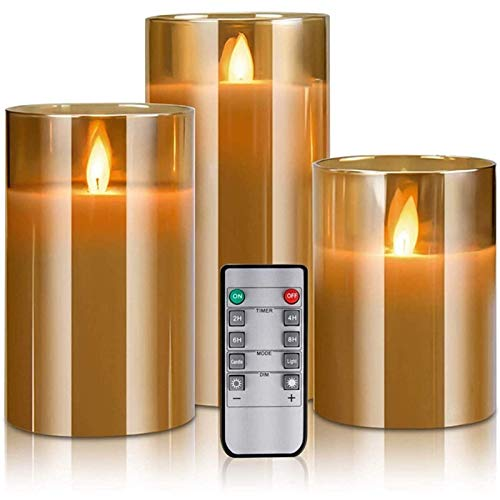 ICDOT Flameless Candles Flickering with Remote, LED Flameless Candles Battery Operated Candles 4 5 6in Real Wax Moving Wick Pillar Candles with Timer (Color : Brown)