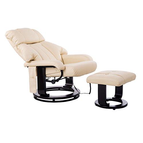 HOMCOM Massagesessel Fernsehsessel Sessel mit Hocker Massage mit Wärmefunktion und Vibration Beige