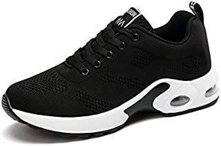 KOUDYEN Womens Ladies Trainers Running Fitness Air Sneakers Athletic Lace up Sports Shoes Black Pink Purple Red 4cm 35-40