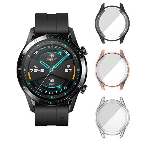 ELYCO für Huawei Watch GT 2 46mm Schutzhülle, [3 Stück] Flexibles TPU Vollschutz Case Weiche Ultradünne Displayschutz Anti-Scratch Cover Hülle für Huawei Watch GT 2 46 mm [Schwarz+Rose Gold+Klar]
