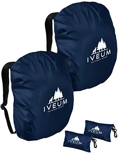 IVEUM 2er Set Hochwertiger Rucksack Regenschutz – Verschiedene Größen an Rucksack Regenüberzug – Rucksackschutz in 18 l – 70 l (S (18l -25l))