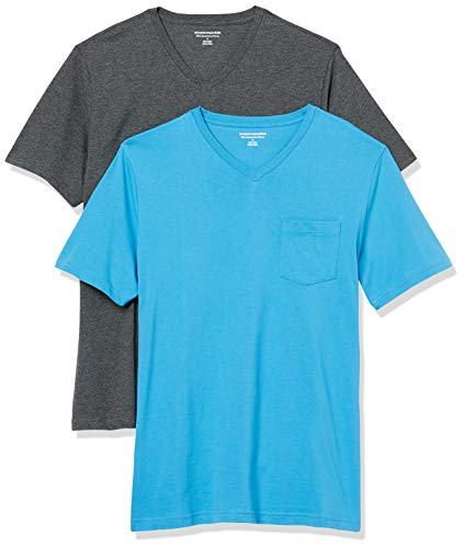 Amazon Essentials 2-Pack Slim-Fit V-Neck Pocket Fashion-t-Shirts, Imperial Blue/Charcoal Heather, US L (EU L)