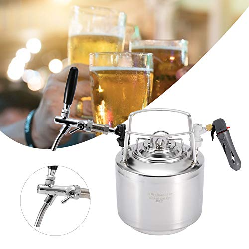 Review Of Pressurized Beer Keg, Stainless Steel Beer Keg System with Adjustable Faucet Kit for Home ...