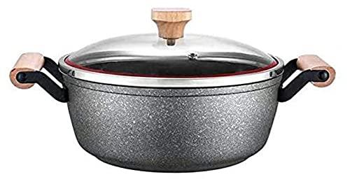 WOK multifonctions domestiques, pot de cuisine antiadhésifs Pot de cuisson avec couvercle en verre trempé Easy Nettoyer for cuisinière à induction électrique en céramique électrique ( Size : A )