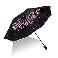 AK brighter 女性折りたたみ傘 8本骨 100cm 軽量 耐風撥水 晴雨兼用 収納ポーチ付き 花見の時期 梅雨对策 (ピンクの桜)