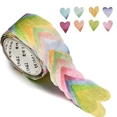chengJellyLibrary Pétalo Flor Washi Tape, Cinta Adhesiva Decorativa Adhesivos Bricolaje Pétalo Pegatinas para Scrapbooking Diario Bala Diario Agenda (200 Pétalos/Rollo) - Heart