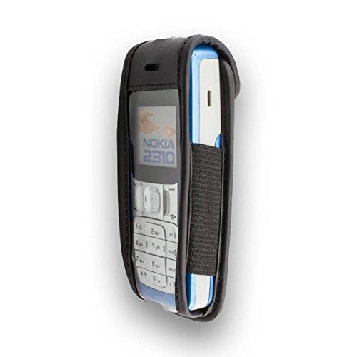caseroxx Ledertasche mit Gürtelclip für Nokia 2310 aus Echtleder, Handyhülle für Gürtel (mit Sichtfenster aus schmutzabweisender Klarsichtfolie in schwarz)