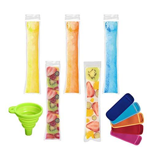 🍨200 PCS Ice Popsicle Tubes - 100% BPA Free, no tóxico, sin ftalatos, sin bisfenol-A. Producto seguro de grado alimenticio y congelador. SE PUEDE PONER EN EL CONGELADOR acostado con cualquier tipo de líquido. SIN FUGAS, SIN DERRAMES, SIN PREOCUPACION...
