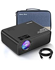 Deal on ManyBox Mini Projector, 4500 LUX Portable Video Projector with 45000 Hrs LED Lamp Life, Full HD 1080P Supported, Compatible with TV PS4, HDMI, VGA, TF, AV and USB-2020 Upgraded Version