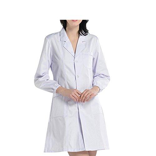 BSTT Donna Camice da Laboratorio Bianca Abbigliamento da Lavoro e Divise Nuovo miglioramento Maniche Elastiche Spessa XXXL