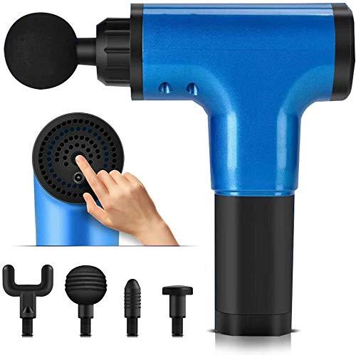 TTLIFE Pistola per fascia per massaggio,massaggiatore per fascia muscolare portatile con 4 teste per massaggio a 6 velocità,massaggiatore per tessuti profondi professionale (Blu)
