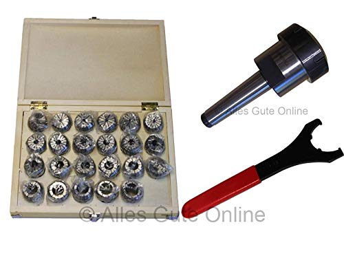 Spannzangenfutter MK3 M12 DIN228A ER40 + ER40 472E Spannzangen-Set HK (23 St.) + Schlüssel UM
