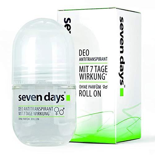 seven days Deo Antitranspirant, Schützt vor Schweiß- und Geruchsbildung, für Frauen und Männer, Unparfümiert, 50 ml