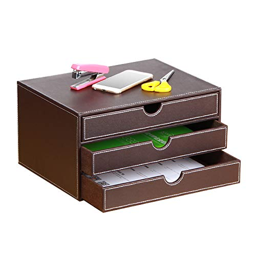 Organizer da scrivania in pelle con 3 cassetti, per ufficio esecutivo, archivio da scrivania A4, contenitore impilabile per gioielli,banconote, carta,documenti,accessori per la decorazione della casa