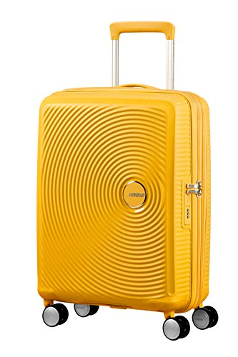 AMERICAN TOURISTER Soundbox - Spinner S Espandibile Bagaglio a Mano, Spinner S (55 cm - 41 L), Giallo (Golden Yellow)