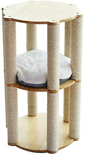 Kratzbaum, Kratzturm Katzenwohnung Massivholzkatze Klettergerüst Katzenstreu Kratzbaum Eine Sisalkatze Kratzsäule Katzenspielzeug Soft Nest Pad Dreischichtig B.