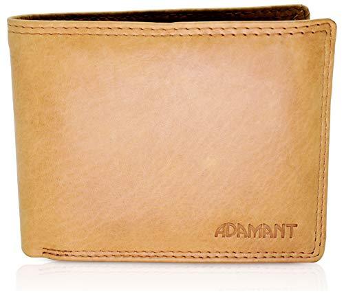Adamant® RFID Echtleder Herren Geldbörsen mit vielen Kartenfächern und Münzfach mit Druckknopf Braun Querformat