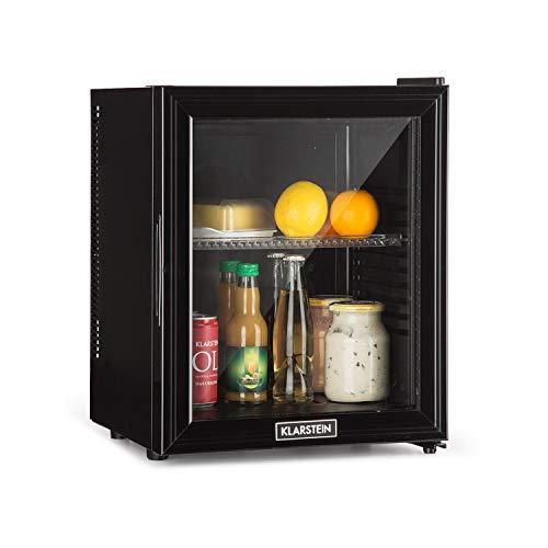 Klarstein Brooklyn 24L Kühlschrank mit Glastür - Mini-Kühlschrank, Mini-Bar, 24 L, 0 dB, 12-15 °C, Kunststoff-Einsatz, LED-Innenbeleuchtung, Glastür, für Single- und Kleinhaushalte, schwarz