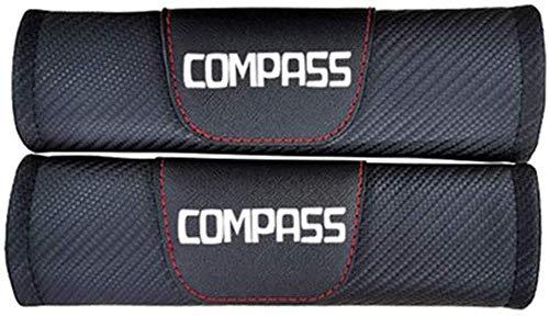 2PCS Car Sefety Seat Belt Cover For Jeep Compass, Carbon Fiber Effect Shoulder Pads, Breathable Car Seat Belt Shoulder Strap