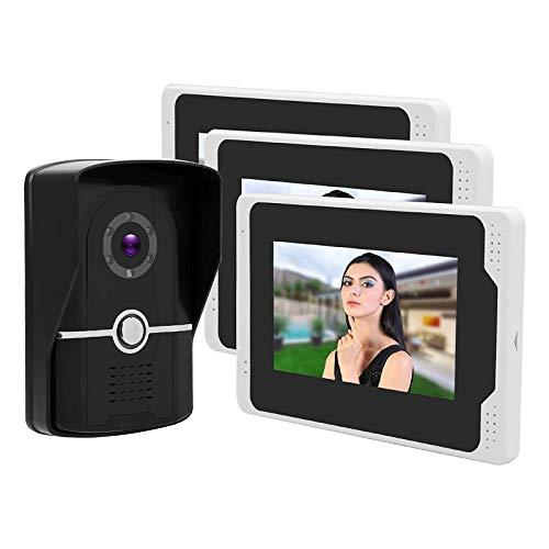 Videoportero con Intercomunicador, 1080P HD Pantalla LCD TFT de 7 Pulgadas 3 Monitores Ángulo de Visión Supervisado de Forma Remota Impermeable (Color : White, Size : 7in)