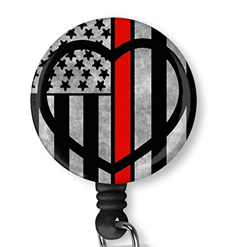 Red Thin Line Flag Heart Heart Retractable ID Card Badge Holder with Alligator Clip Name Nurse Decorative Badge Reel Clip on Card Holders