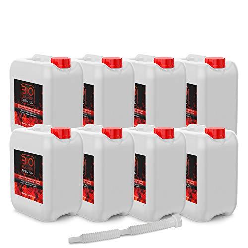 8 x 5 Litros Bioetanol Premium con Embudo para chimeneas