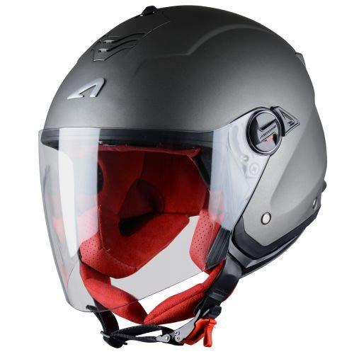 Astone Helmets - MINIJET S monocolor- Casque jet - Casque jet usage urbain - Casque compact - Coque en polycarbonate - Matt Gun Metal XL