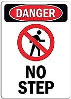 サイン警告サイン安全サイン危険錫サイン危険サイン-ステップなし、壁サインアート鉄の絵画レトロな金属プラークの装飾カフェバーの警告サイン