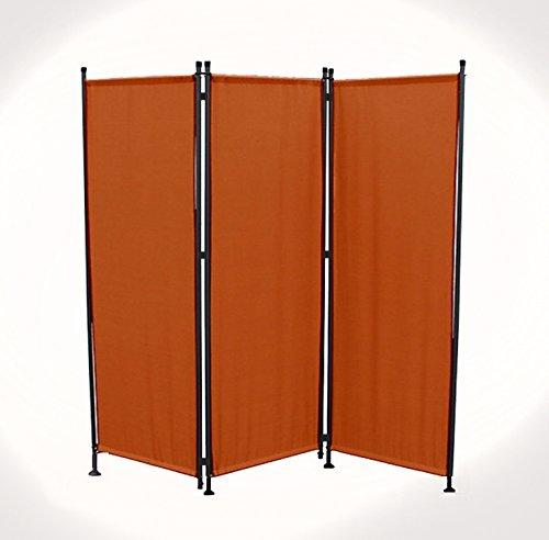 IMC Paravent 3-teilig terrakotta Raumteiler Trennwand Sichtschutz, faltbar/flexibel verstellbar, wetterfester Polyester-Stoff, Schwarze Metallstangen