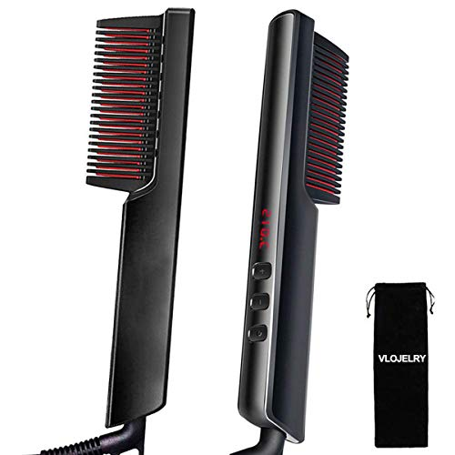 VLOJELRY Hair Beard Straightener Brush, Hot Comb Hair Straightener Electric with Anti-Scald, 6 Heat Levels, 30s Fast Ceramic Heating, Auto-off, Portable Ionic Straightening Comb for Women & Men