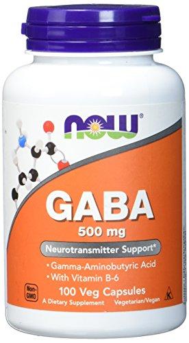 Now Foods Gaba Gamma-Amino-Buttersäure Mit Vitamin B-6, 500mg, 100 vegane Kapseln