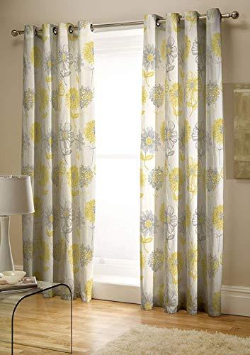 Catherine Lansfield Floral Banbury de Cuidado fácil, Amarillo, Curtains - 66x72In