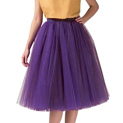 Wedding Planning Women's A Line Short Knee Length Tutu Tulle Prom Party Skirt Medium Purple